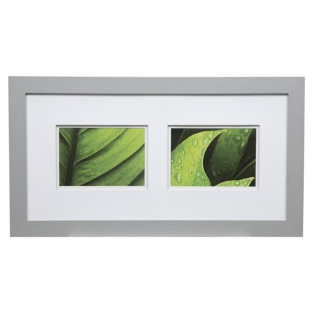 Gallery Solutions 10x20 Wide Grey Frame with Double Mat For Two 5x7 Images
