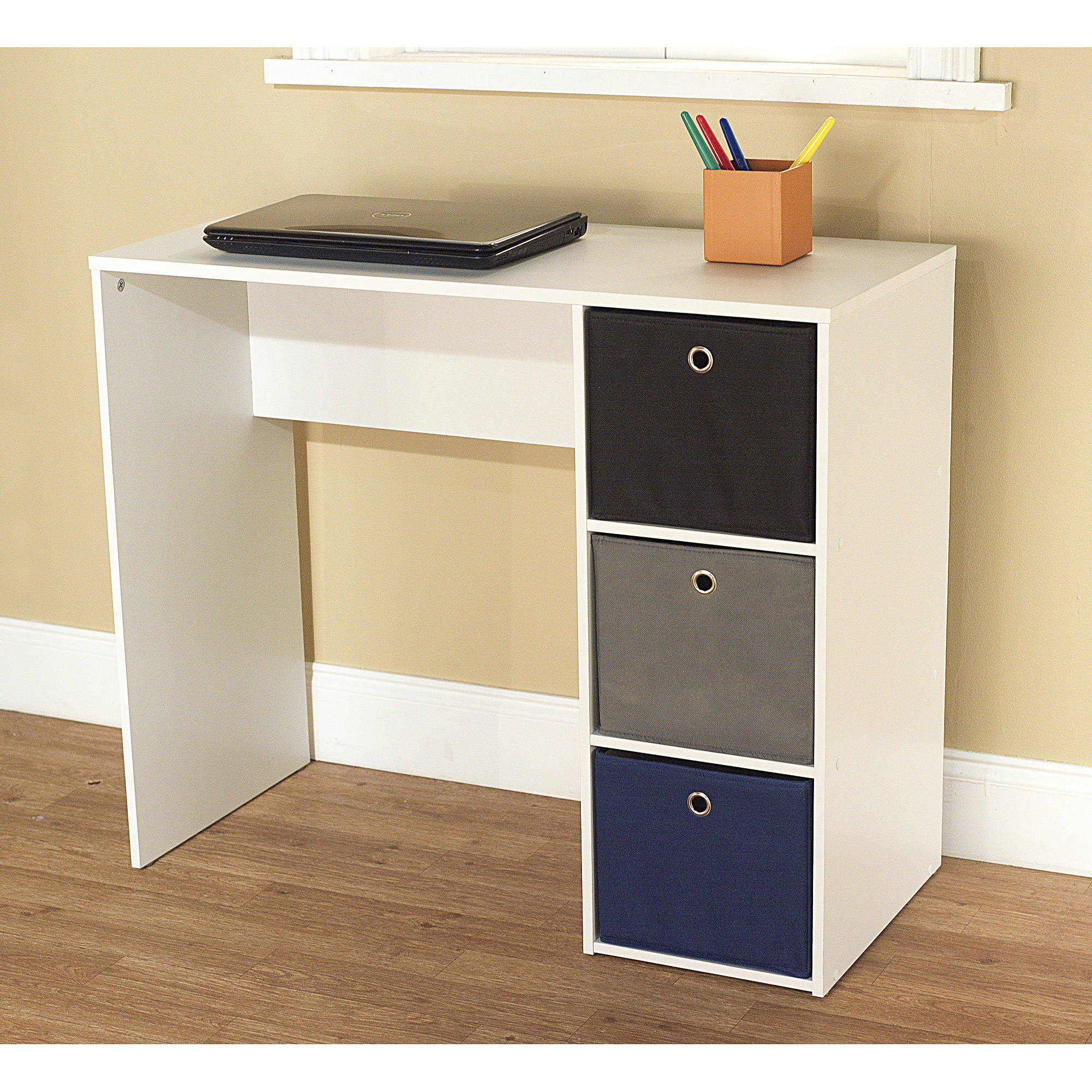 student writing desk with 3 fabric bins multiple colors