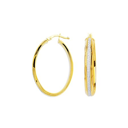c9de138a620f3 Hoop Earrings with Sparkle Strip Yellow Gold on Sterling Silver