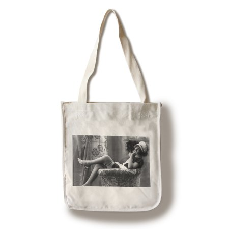 Pin-Up Girl in French Maid Outfit Smoking and Sitting- Vintage Photograph (100% Cotton Tote Bag - Reusable)](German Maid Outfit)