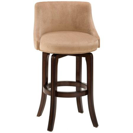 Swivel Bar Stool Khaki Fabric Seat