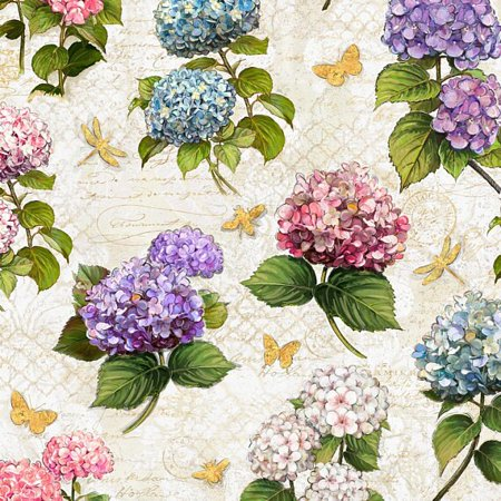 Hydrangea Dreams~Hydrangeas on Cream Floral Cotton Fabric by Wilmington - Fabric Hydrangea