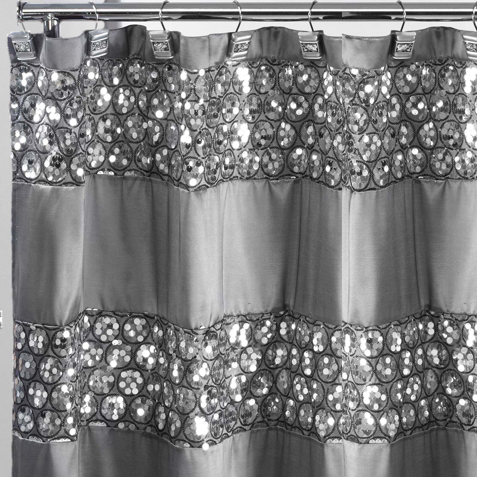 Popular Bath Sinatra Silver Collection 70 x 72 Bathroom Fabric Shower Curtain & Hook Set