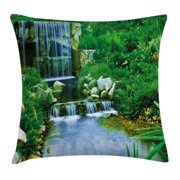 Nature Throw Pillow Cushion Cover, Waterfall Flowing down the Rocks Foliage Cascade in Forest Valley Image, Decorative Square Accent Pillow Case, 20 X 20 Inches, Fern Green Light Blue, by Ambesonne