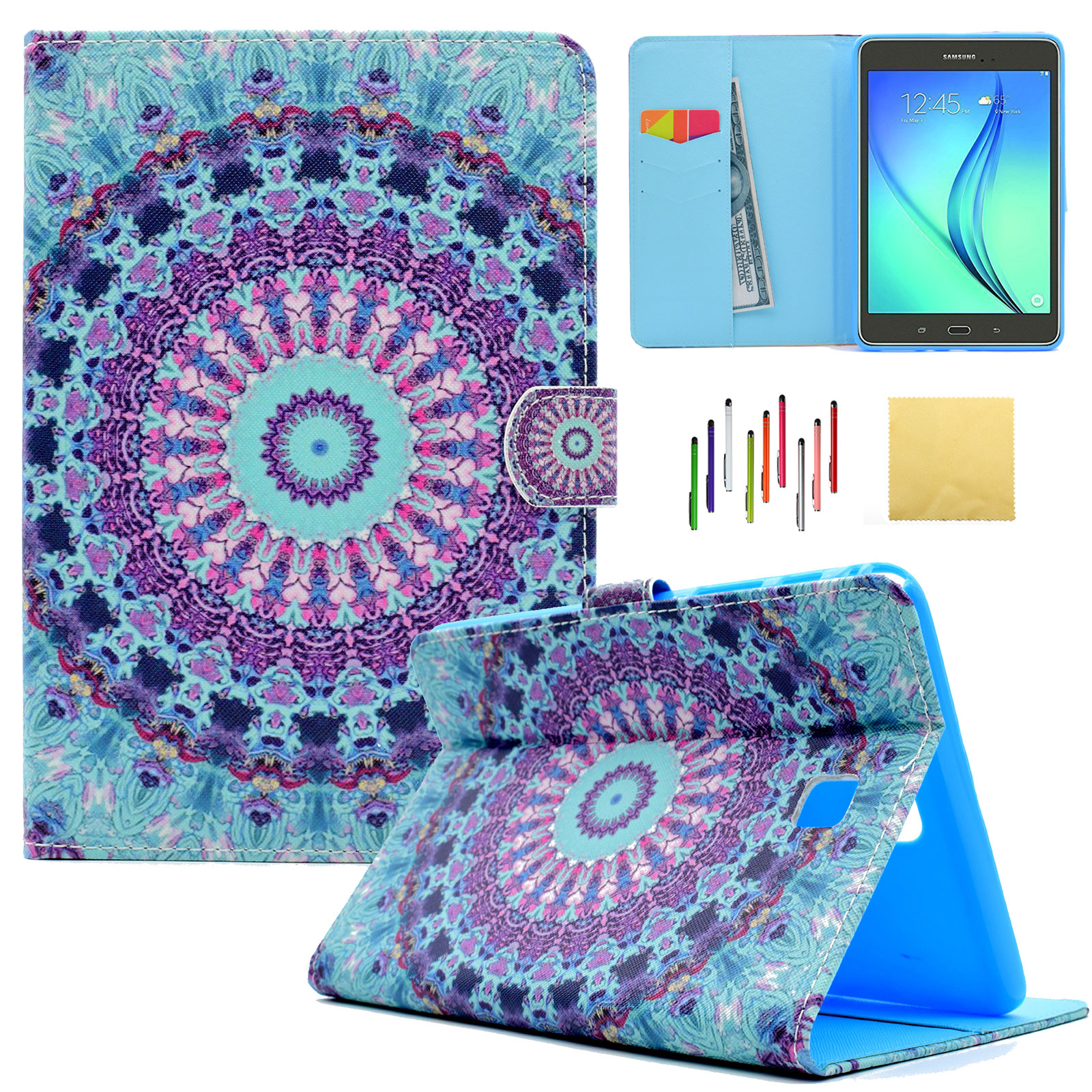 Galaxy Tab A 8.0 Case, SM-T350 P350 Case, Goodest Slim Lightweight PU Leather Case Flip Folio Stand Case Cover for Samsung Galaxy Tab A 8.0 inch Tablet(Not for SM-T380), Mandala Totem