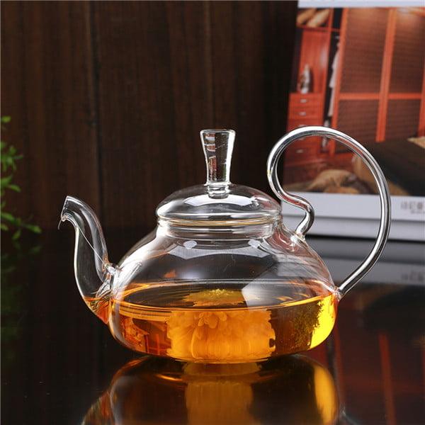 750ml Clear Glass Teapot Heat Resistant Infuser Flower Green Tea Pot by