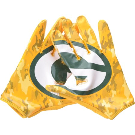 Davante Adams Green Bay Packers Autographed Game-Used Yellow Camouflage Gloves from the 2018 NFL Season with