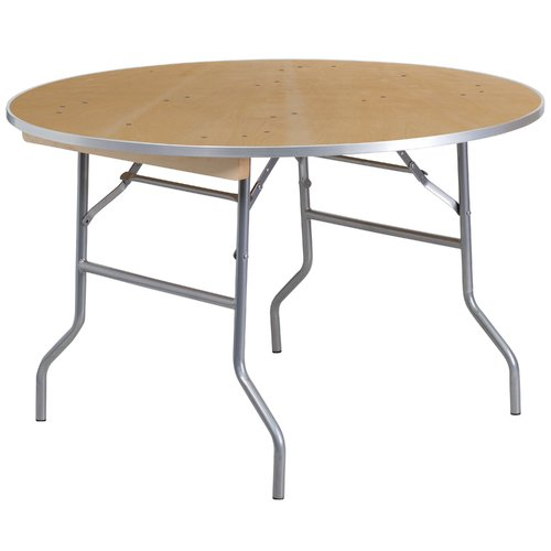 "Flash Furniture 48"" Round HEAVY DUTY Birchwood Folding Banquet Table with METAL Edges"