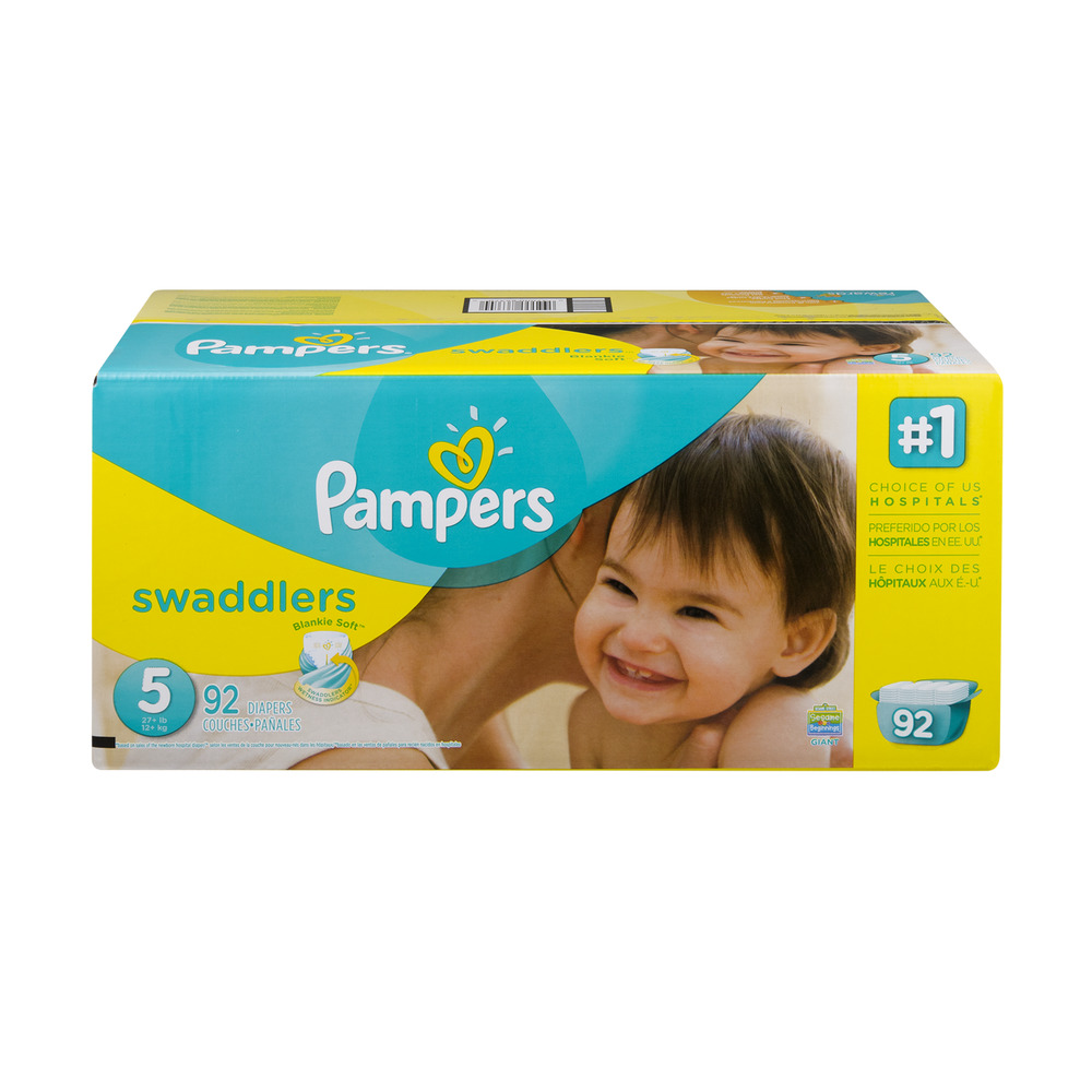 Pampers Swaddlers Diapers, Size 5, 92 Diapers