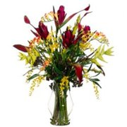 Allstate Floral WF3420-PL-YE 34 inch Hx27 inch Wx27 inch L Banana Flower-Heliconia-Freesia in Vase Plum Yellow