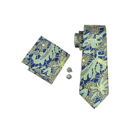 Men's Barry Wang Blue Yellow & Green Paisley 100% Silk Neck tie Hanky Cufflinks Set