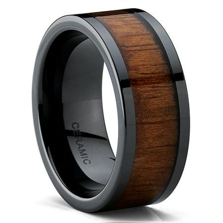 Men's Black Ceramic Flat Top Wedding Band Ring with Real Koa Wood Inlay, 9MM Comfort -