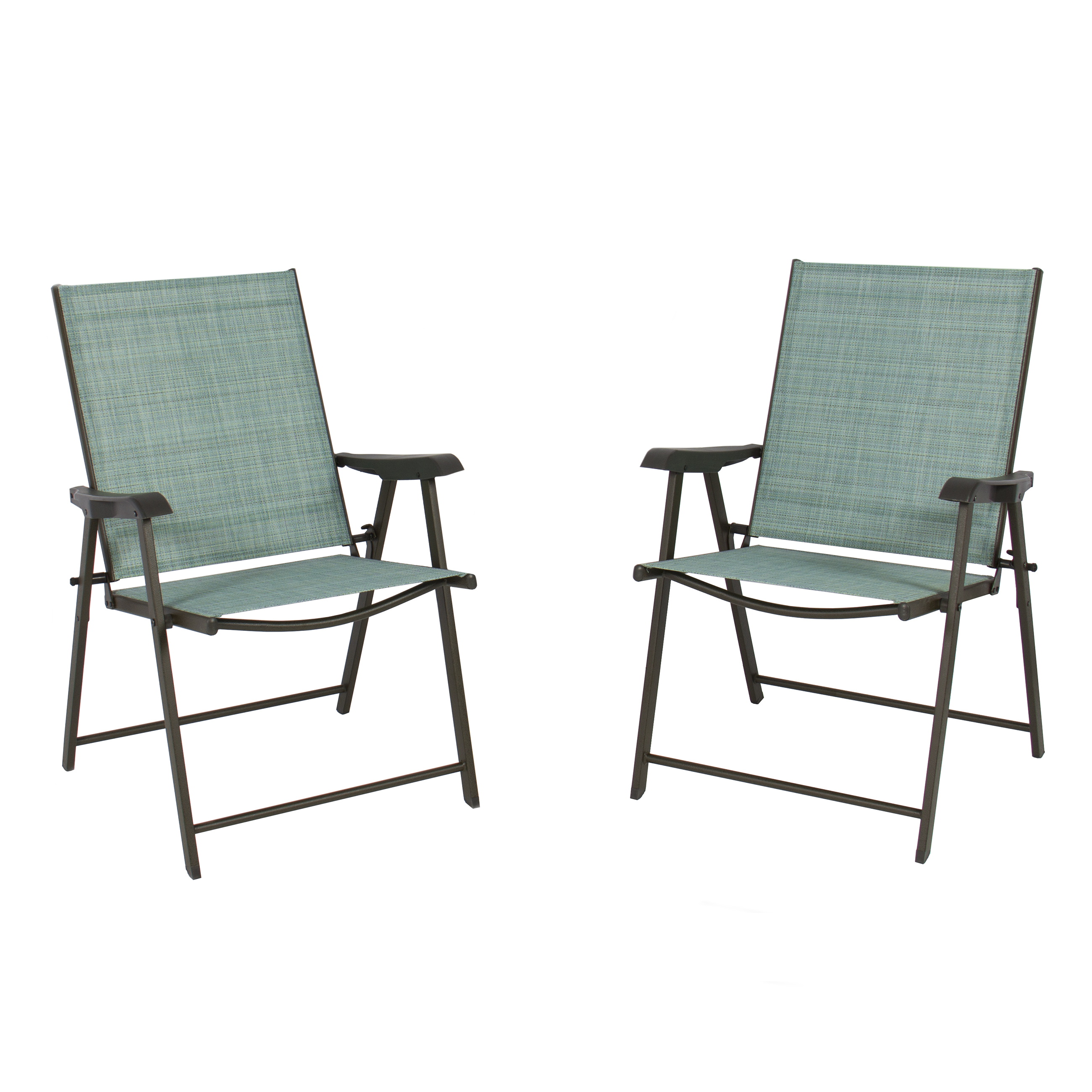 Set of 2 Folding Chairs Sling Bistro Set Outdoor Patio Furniture Space Saving