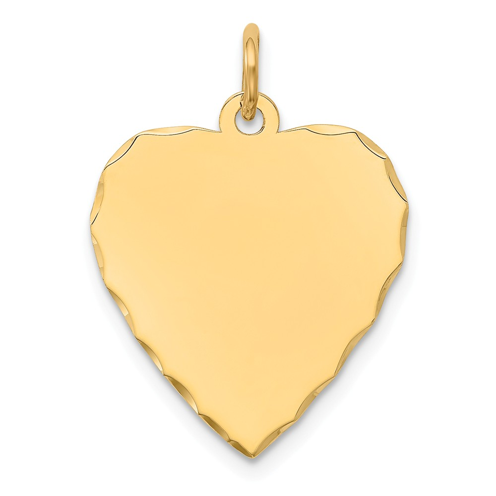 14k Yellow Gold Etched 0.027 Gauge Engravable Heart Disc Charm (1in long x 0.7in wide)
