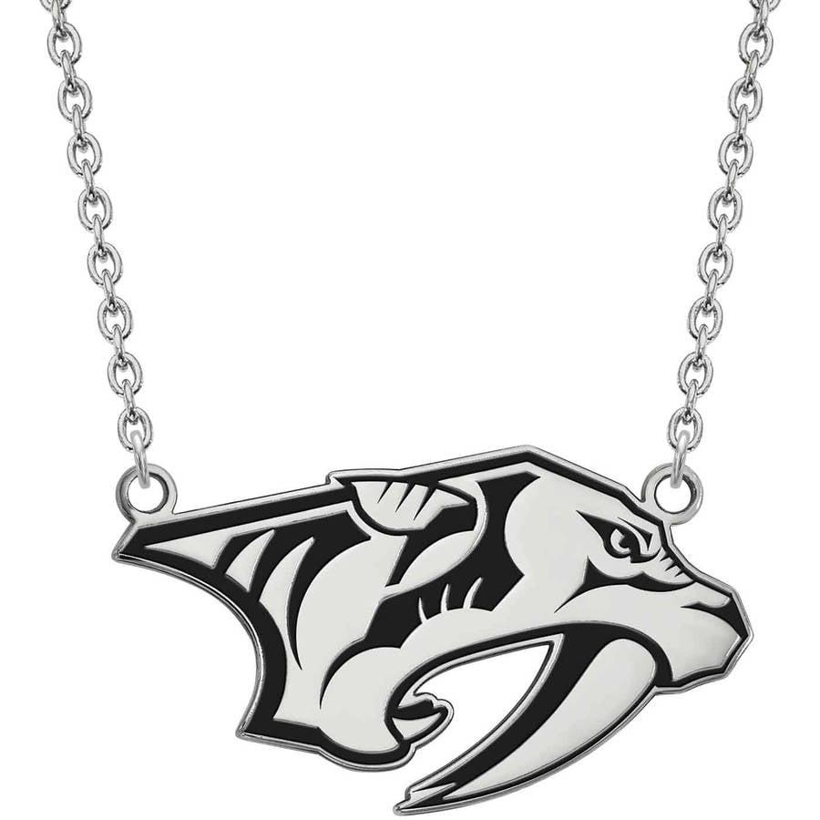 LogoArt NHL Nashville Predators Sterling Silver Large Enameled Pendant with Necklace