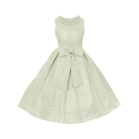 Cinderella Couture Girls Sage Teardrop Jacquard Pearl Dress 8-12 - Teardrop Dress