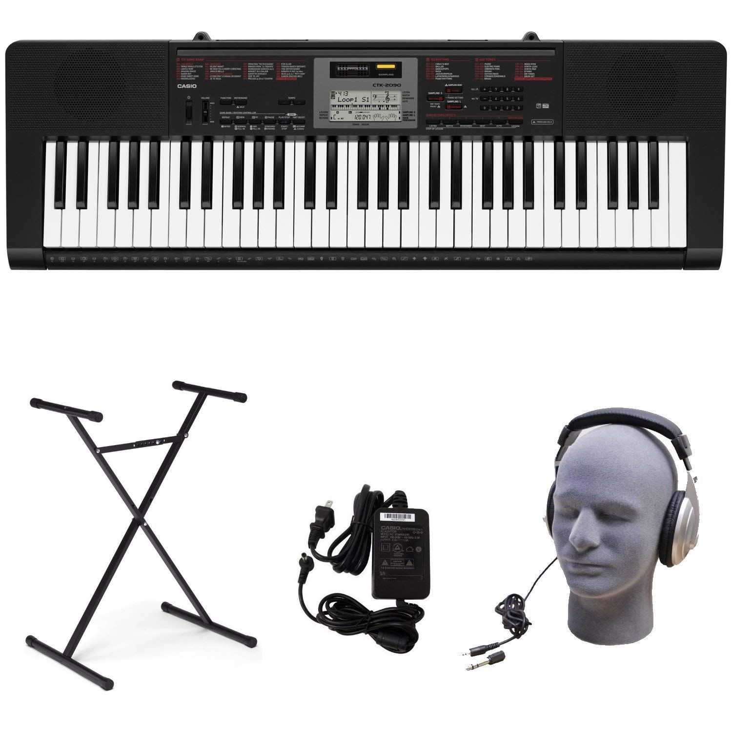 Casio CTK-2090 PPK 61-Key Premium Keyboard Pack with Power Supply, Stand, and Headphones