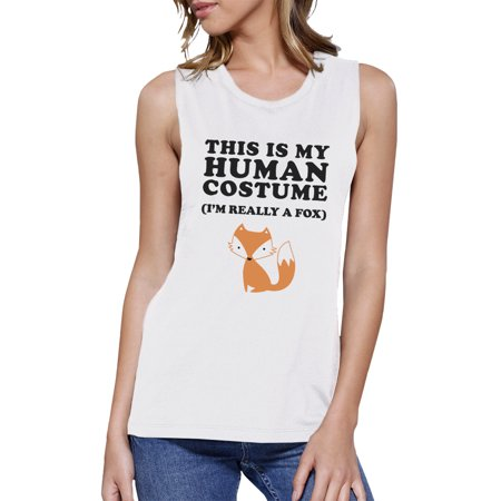 Work Out Costume (This Is My Human Costume Womens Halloween Workout Muscle Tee)