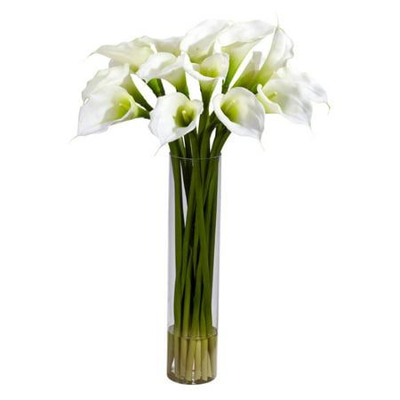 Nearly Natural Calla Lilly Silk Flower Arrangement with Cylinder Vase, Yellow - Cheap Flower Arrangements