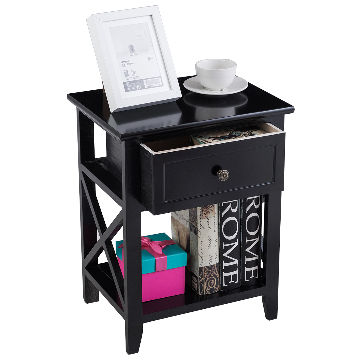 Topbuy End Table Nightstand W/Drawer & Shelf Bedroom