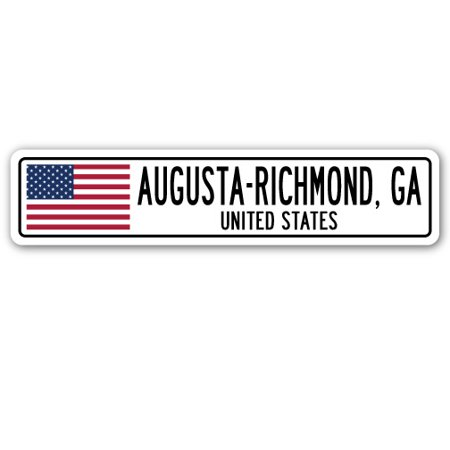 AUGUSTA-RICHMOND, GA, UNITED STATES Street Sign American flag city gift](Party City Augusta Ga)