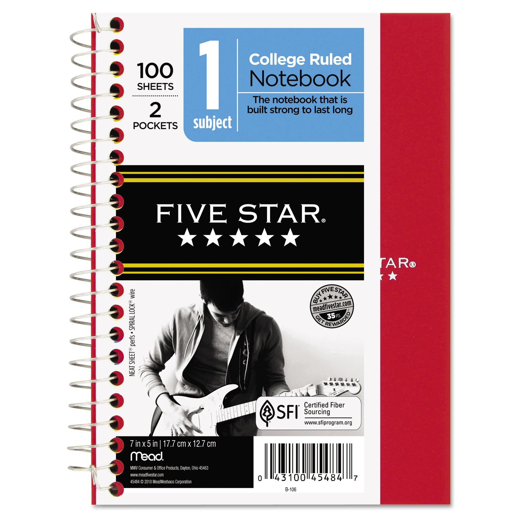 Five Star Wirebound Notebook, College Rule, 7 x 5, 100 Sheets, Assorted -MEA45484