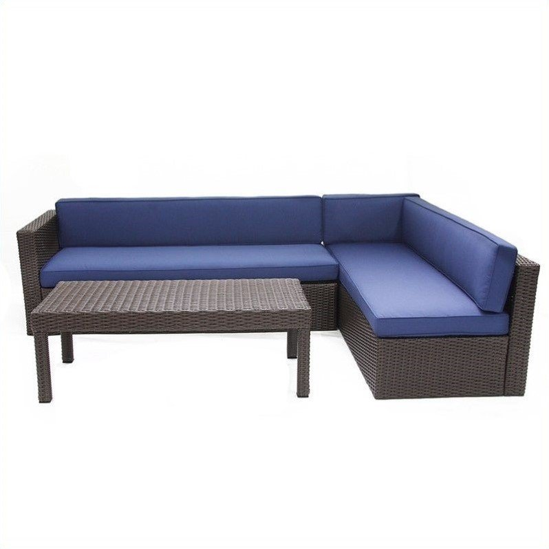 Jeco 3pc Wicker Conversation Sectional Set in Espresso with Tan Cushions by Jeco Inc.