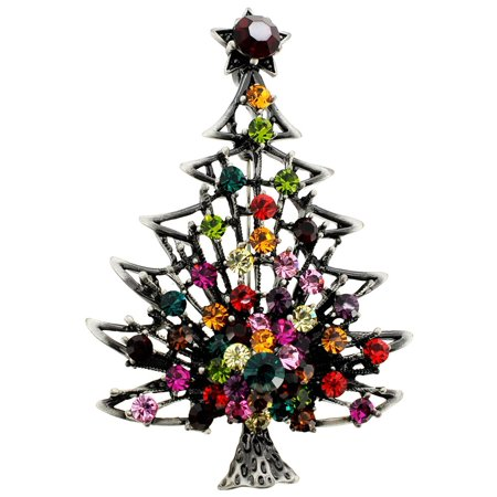 Brass Christmas Tree with Colorful Star Crystal Pin Brooch