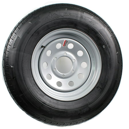 Trailer Tire On Rim ST225/75D15 H78-15 15 in. D 6 Lug Wheel Silver Modular