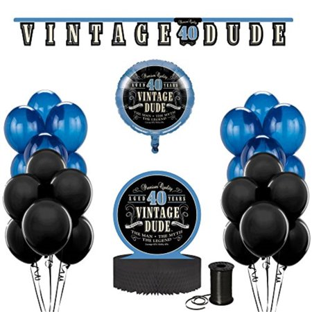 Vintage Dude 40th Birthday Party Decoration Bundle! 40th Birthday Celebration Decor Bundle Includes - Jointed Banner, Honeycomb Centerpiece, Balloons and Curling Ribbon!! - 40th Birthday Decor