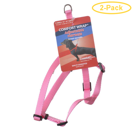 Tuff Collar Comfort Wrap Nylon Adjustable Harness - Bright Pink X-Small (Girth Size 12-18) - Pack of