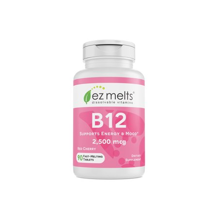 EZ Melts B12, 2,500 mcg, Dissolvable Vitamins, Vegan, Zero Sugar, Natural Cherry Flavor, 90 Fast Melting Tablets