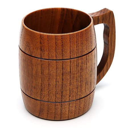 Beer Mug, 16 OZ Handmade Eco-friendly Wooden Mugs With Handle For Wine/Coffee/Tea, Best Gift Cups For