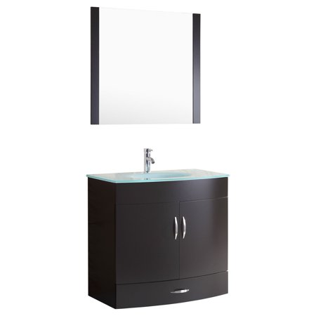 Black Vanity Cabinet - Style 5 - 36 in.W Black Vanity Sink Base Cabinet with Mirror (LV5-36B)