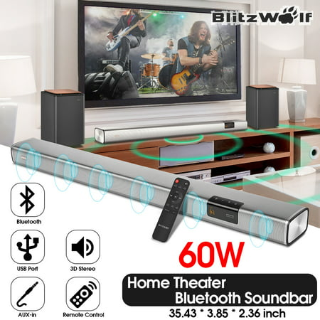 Blitzwolf TV Soundbar, ® BW-SDB2 60W 35-inch Sound Bar Smart Home Theater 2.1 Channel Audio Speaker with 2 Low-Frequency Radiators for TV PC with Coaxial/Optical/AUX/USB