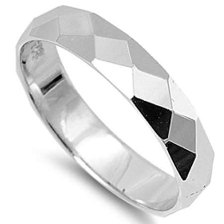 4mm Fancy Cut Wedding Engagement Band .925 Sterling Silver Ring Sizes 4-12