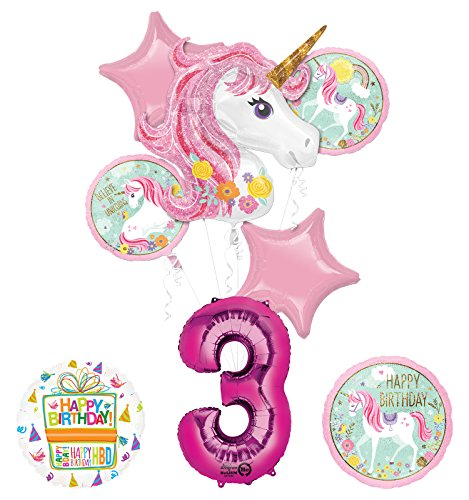 "Unicorn Party Supplies ""Believe In Unicorns"" 3rd Birthday Balloon Bouquet Decorations"