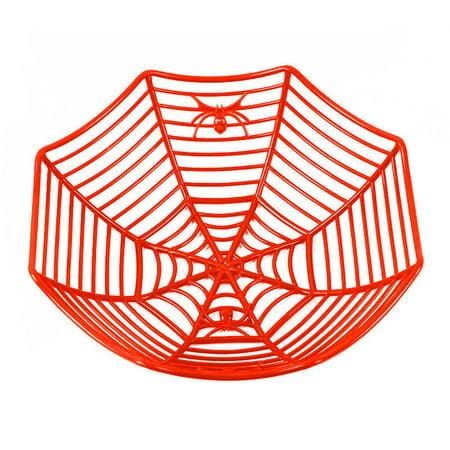 Halloween Candy Baskets (Iuhan Spider Web Fruits Candy Plastic Basket Spiderweb Halloween Party Decor)