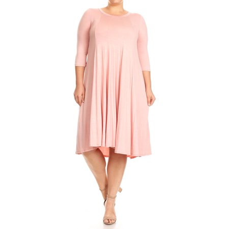 MOA Collection Plus Size Women's 3/4 Sleeves solid dress - Flapper Dresses Plus Size