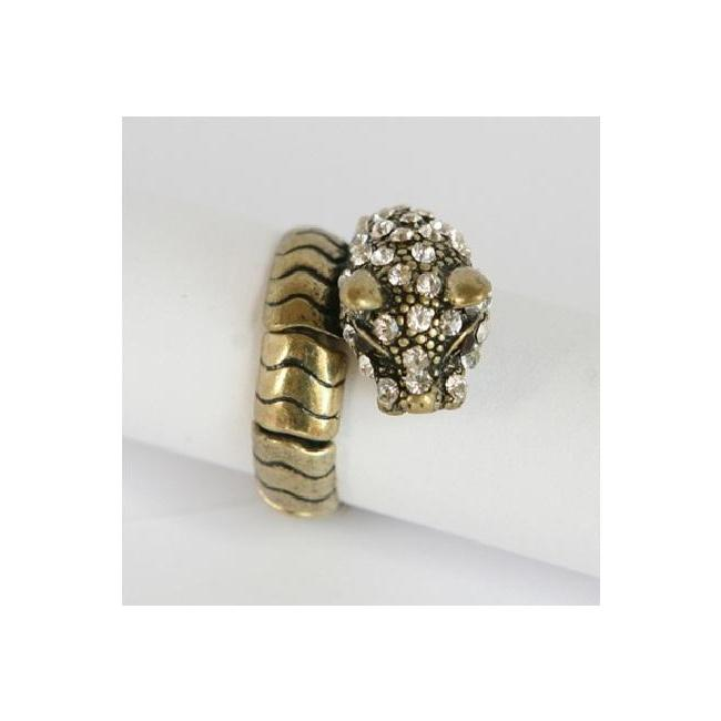 Zirconmania 622R-0146G Goldtone Crystal Panther Stretch Ring