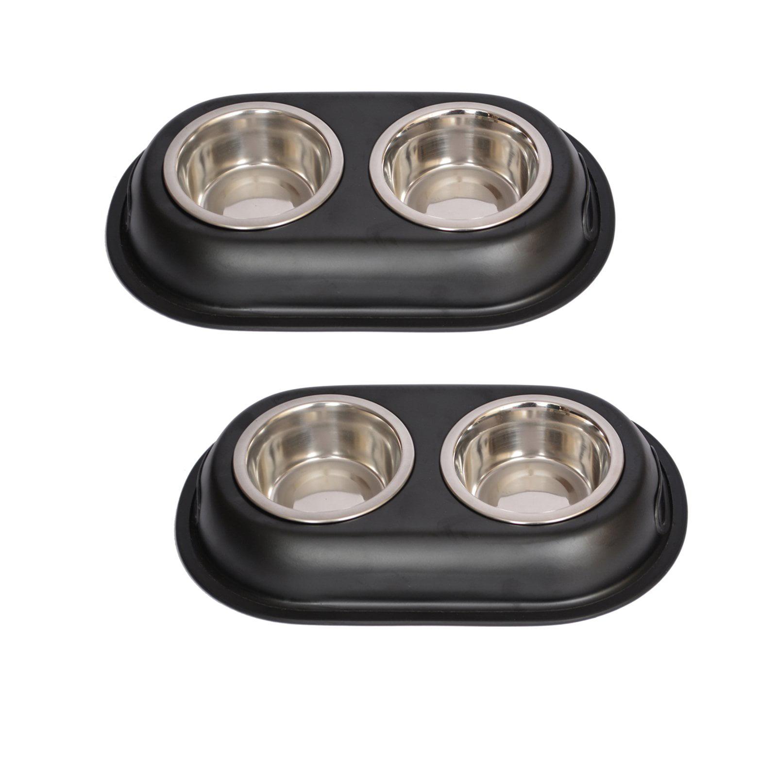2-Pack Color Splash Stainless Steel Double Diner (Black) For Dog/Cat, 1/2 Pt, 8 Oz, 1 Cup