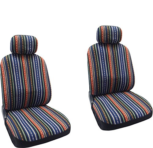 Baja Blue - Striped Saddle Blanket Front Seat Cover Pair For Toyota Corolla