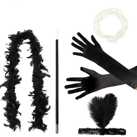 Gangster Halloween Costume Accessories (5 Pcs/Set Flapper Girl Fancy Dress Accessories Hen Party Charleston Gangster Gatsby Costume)
