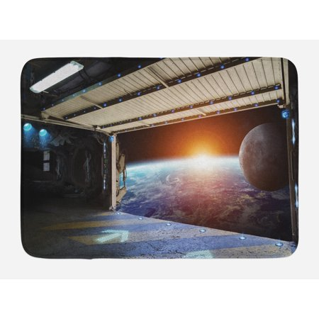 Outer Space Bath Mat, Earth Scene from a Space Plane Runway Gate Globe Galaxy Up to Stars Picture, Non-Slip Plush Mat Bathroom Kitchen Laundry Room Decor, 29.5 X 17.5 Inches, Multicolor, Ambesonne