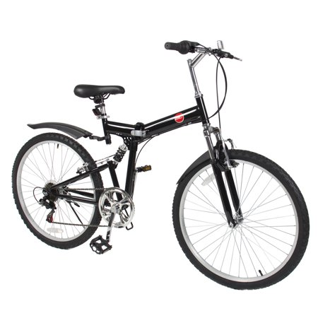 "26"" Folding Mountain Bicycle 6 Speed Shimano Foldable Bike Black Color"