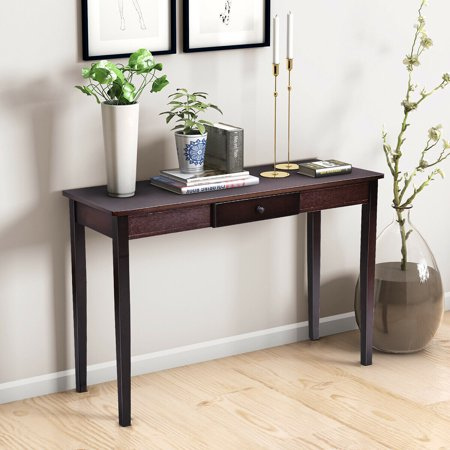 Costway Console Table Entry Hallway Entryway Side Sofa Accent Table Drawer Wood ()
