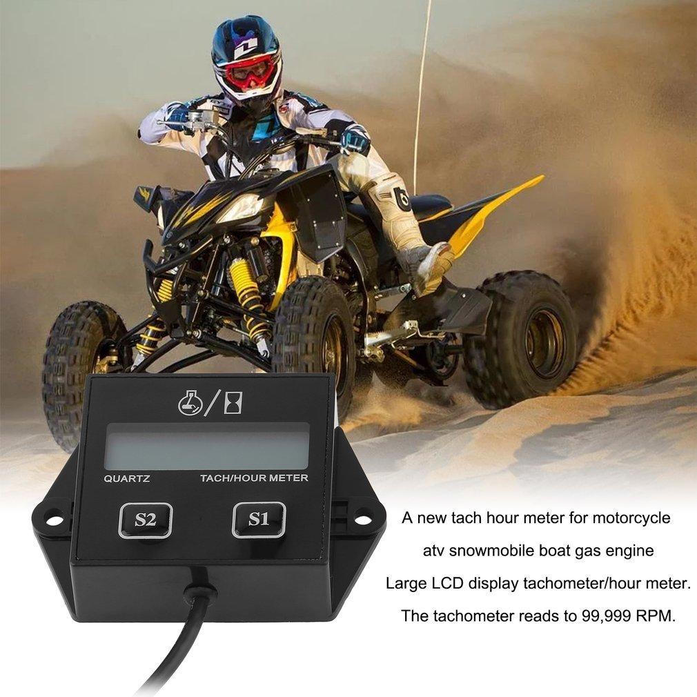 Portable Digital Tach Hour Meter Tachometer Gauge LCD for Gas Engine Snowmobile ATV Motorcycle Bike