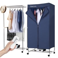 Portable Electric Clothes Dryer With Remote Control,Convenient to move with 4 casters