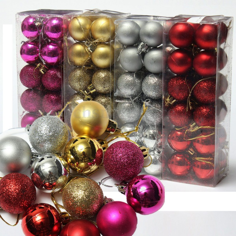 24 pieces, black diameter:1.18in Christmas Ornament Christmas Tree Ornament Christmas Tree Ornament Holiday Wedding drop ball Christmas Party Decoration home decoration Christmas Decoration Ball