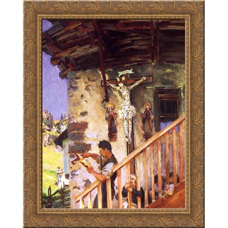 Ornate Crucifix - A Tyrolese Crucifix 24x20 Gold Ornate Wood Framed Canvas Art by John Singer Sargent